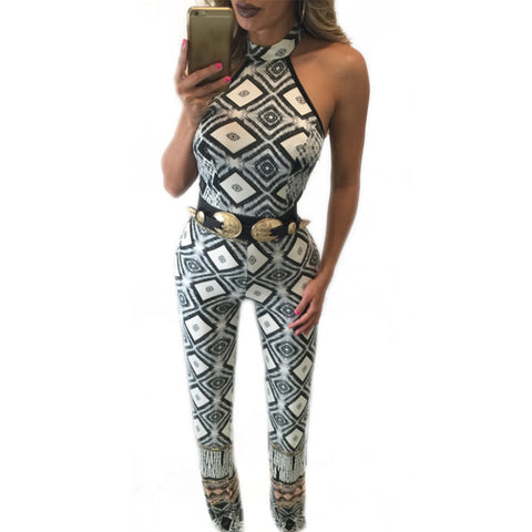 Print Fashion Backless Halter Jumpsuit Bodysuit - CELEBRITYSTYLEFASHION.COM.AU - 1