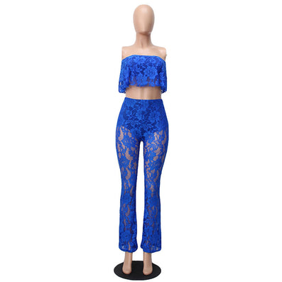 Two Piece Lace Floral Bodysuit Sleeveless Strapless Jumpsuit - CELEBRITYSTYLEFASHION.COM.AU - 2