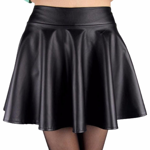 Fashion Lady Women Faux Leather Skirt High Waist Skater Flared Pleated Short Mini Skirt - CelebritystyleFashion.com.au online clothing shop australia