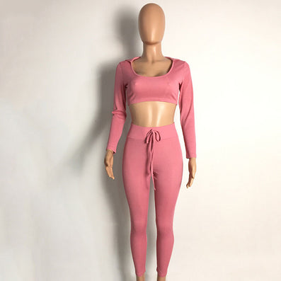 Ribbed Long Sleeve Two Piece Jumpsuit Pink Overalls Winter Hooded O-neck - CELEBRITYSTYLEFASHION.COM.AU - 2