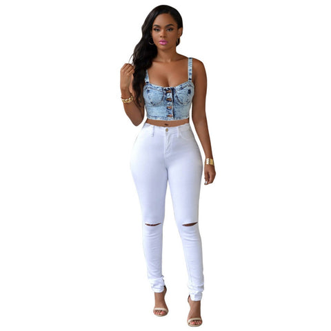 7 Colors High Waisted Cut Out Butt Lifting Destroyed Washed Elastic Slim Sculpt Pencil Jeans - CELEBRITYSTYLEFASHION.COM.AU - 1