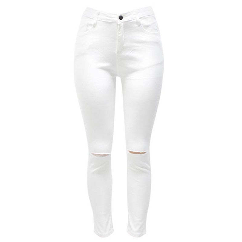 7 Colors High Waisted Cut Out Butt Lifting Destroyed Washed Elastic Slim Sculpt Pencil Jeans - CELEBRITYSTYLEFASHION.COM.AU - 2