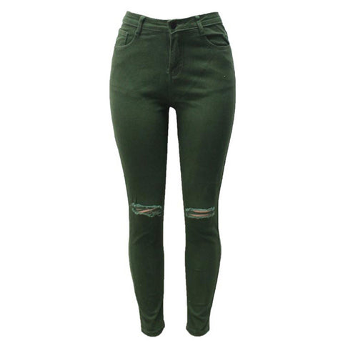 7 Colors High Waisted Cut Out Butt Lifting Destroyed Washed Elastic Slim Sculpt Pencil Jeans - CELEBRITYSTYLEFASHION.COM.AU - 4