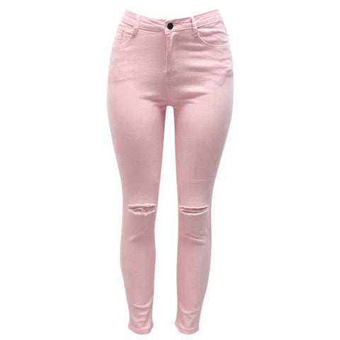 7 Colors High Waisted Cut Out Butt Lifting Destroyed Washed Elastic Slim Sculpt Pencil Jeans - CELEBRITYSTYLEFASHION.COM.AU - 6