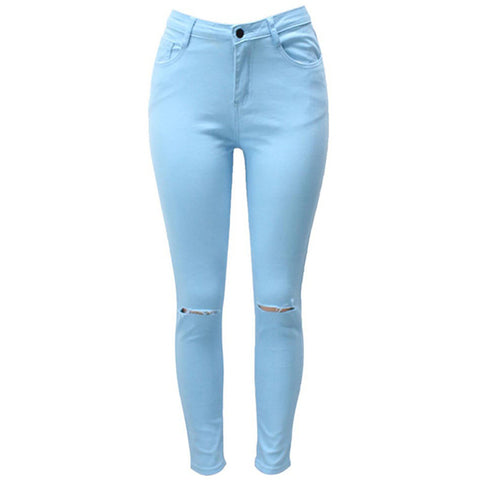 7 Colors High Waisted Cut Out Butt Lifting Destroyed Washed Elastic Slim Sculpt Pencil Jeans - CELEBRITYSTYLEFASHION.COM.AU - 7