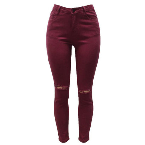 7 Colors High Waisted Cut Out Butt Lifting Destroyed Washed Elastic Slim Sculpt Pencil Jeans - CELEBRITYSTYLEFASHION.COM.AU - 8
