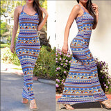 O-neck Long Beach Maxi Vintage Printing Dress - CELEBRITYSTYLEFASHION.COM.AU - 2