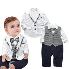 gentleman baby boy clothes white coat+ striped rompers clothing set newborn wedding suit - CelebritystyleFashion.com.au online clothing shop australia