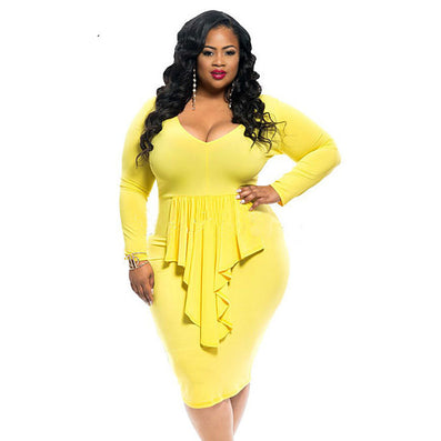 Yellow Plus Size Knee-length Club Party Dress - CELEBRITYSTYLEFASHION.COM.AU