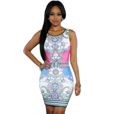 Multi Color Mini Dress Hot - CELEBRITYSTYLEFASHION.COM.AU - 2