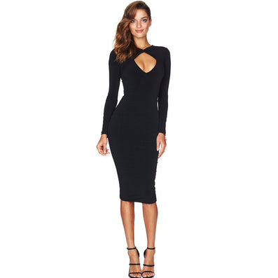 Long Sleeve Pencil Dress Front Cross - CELEBRITYSTYLEFASHION.COM.AU - 2