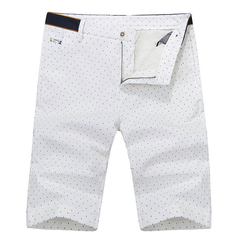 Summer Casual White Mens Polo Shorts Knee Length Straight Cotton Beach Shorts Fashion Print Men Short Pants Plus Size - CelebritystyleFashion.com.au online clothing shop australia