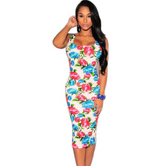 Vintage Rose Printed Dresses Floral Print Pencil Sleeveless Party Dress - CELEBRITYSTYLEFASHION.COM.AU - 1