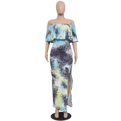 Strapless Maxi Print Dress Ruffles Short Sleeve Split - CELEBRITYSTYLEFASHION.COM.AU - 2