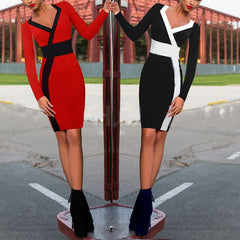 Deep V-neck Geometric Black Red Patchwork Slim Long Sleeve Party Dress - CELEBRITYSTYLEFASHION.COM.AU - 1