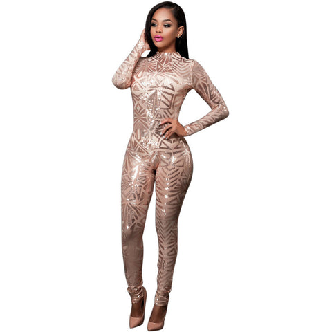 Sequined Jumpsuit Mesh Bodysuit - CELEBRITYSTYLEFASHION.COM.AU - 1