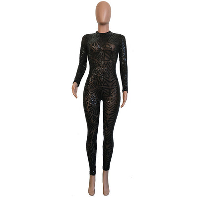 Sequined Jumpsuit Mesh Bodysuit - CELEBRITYSTYLEFASHION.COM.AU - 2
