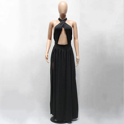 Long Maxi Dress Halter Sleeveless Split Bandage Party Dress - CELEBRITYSTYLEFASHION.COM.AU - 2