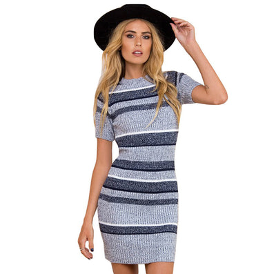 O-neck Short Sleeve Winter Knitted Mini Sexy Striped Sweater Dress - CELEBRITYSTYLEFASHION.COM.AU - 1
