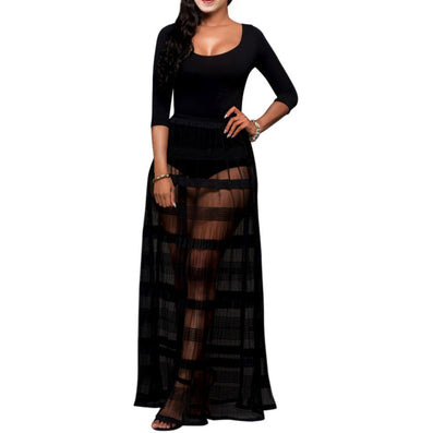 Long O-neck Three Quarter Sleeve Black Striped Mesh Maxi Dress Kim Kardashian Style - CELEBRITYSTYLEFASHION.COM.AU - 1