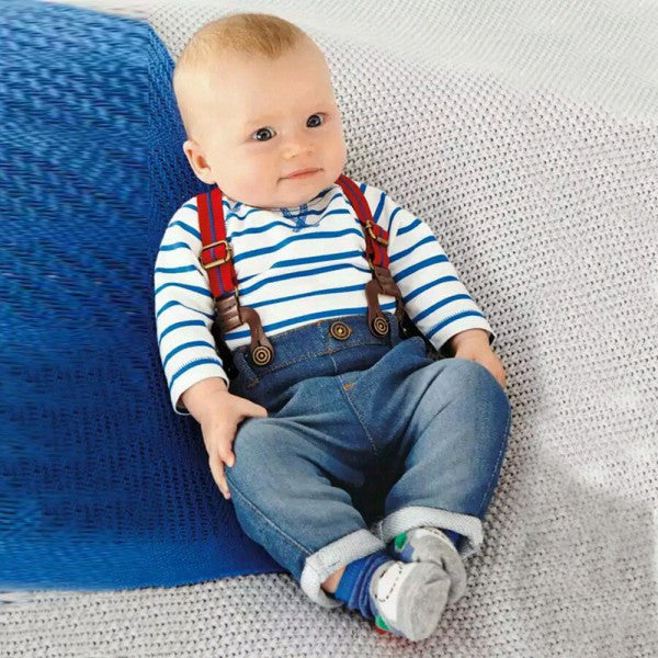 700992836 Baby Boy Long Sleeve T-shirt +Jeans Bib Pants Overall Outfit Clothes Set 2