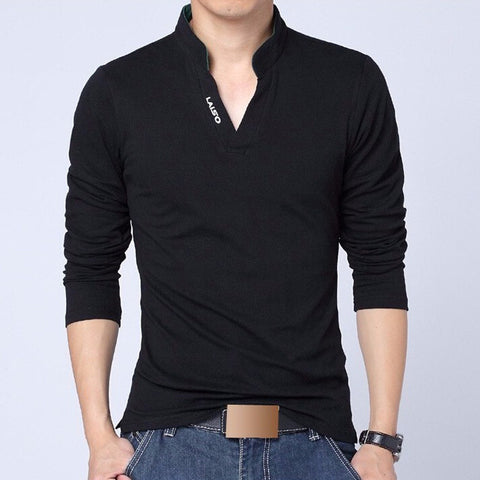 Men Polo Shirt Mens Long Sleeve Solid Polo Shirts Camisa Polos Masculina Casual cotton Plus size M- XXXL 4XL 5XL Tops Tees - CelebritystyleFashion.com.au online clothing shop australia