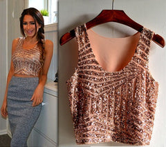 Women top Fashionable Striped Gauze Sequin Splicing Sexy Summer Short Tank Crop Tops 63 - CelebritystyleFashion.com.au online clothing shop australia