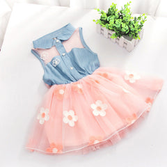 New Princess Baby Girls Kids Denim Sleeveless Tops Tulle Tutu Mini Dress 1-4Y - CelebritystyleFashion.com.au online clothing shop australia