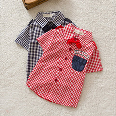 Boys Button-down Plaid Short Sleeve Shirts Tie Lapel Blouse Tops Age 0-3Y - CelebritystyleFashion.com.au online clothing shop australia
