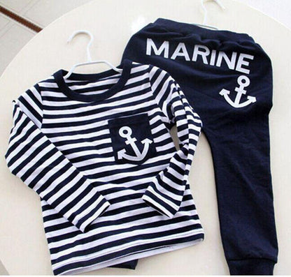 Spring Kids Clothes, Navy Long Sleeve Pullover Striped Sports Suit, New Casual Boys Clothing Set - CelebritystyleFashion.com.au online clothing shop australia