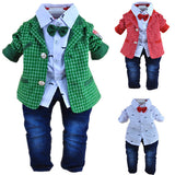 baby boys plaid gentlemen clothing set 3pcs baby boy clothing infant clothes set kids clothes sets - CelebritystyleFashion.com.au online clothing shop australia