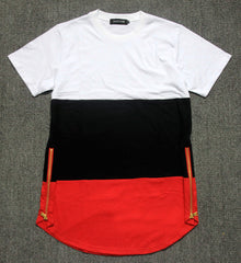 summer style mens t shirts white black red patchwork golden side zipper swag t shirt streetwear hip hop t shirts extended tees - CelebritystyleFashion.com.au online clothing shop australia