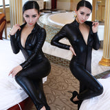 Lady Sexy Leather Latex Zentai Catsuit Smooth Wetlook Jumpsuit Front Zipper Elastic Valentine's Day Party Clubwear - CelebritystyleFashion.com.au online clothing shop australia