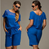Women Summer Jumpsuits & Rompers L-6XL Plus Size Lace Short Sleeve Buttons Loose Lace Shorts Overalls Female M0233 - CelebritystyleFashion.com.au online clothing shop australia
