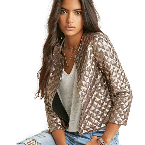 Spring Style Vogue Lozenge Women Gold Sequins Jackets Three quater sleeve Fashion Coats Outwears - CelebritystyleFashion.com.au online clothing shop australia