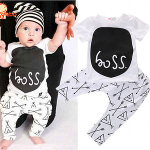 Fashion Infant Baby Costume Summer Style Baby Boy Clothes Cotton Letters Printed Baby Outfit Unisex T-shirt+Pants 2pcs - CelebritystyleFashion.com.au online clothing shop australia