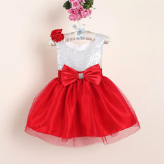 New Christmas Flower Girl Dresses Red Sequin Big Bow Baby Party Dress for wedding vestidos infantis 0-4 years - CelebritystyleFashion.com.au online clothing shop australia