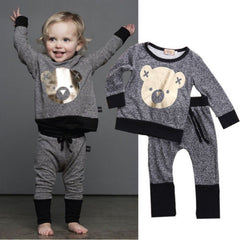 Unisex Winter Toddler Baby Boy Clothes Long Sleeve Cartoon Cute BEAR Printed T-Shirt + Pant Outfit Set Age 0-4 - CelebritystyleFashion.com.au online clothing shop australia