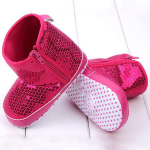 Infant Kids Baby Girl Sequins High Boots Soft Bottom Anti-slip Walking Shoes - CelebritystyleFashion.com.au online clothing shop australia