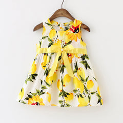 New Baby Girl Dress Lemon Dress Toddler Girls Summer Baby Clothing Sleeveless Baby Dress Floral Sundress - CelebritystyleFashion.com.au online clothing shop australia