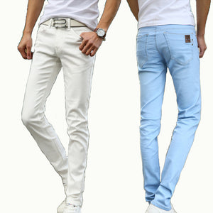 Men's Straight Elastic Waist Skinny Jeans Mid Waist Men's Slim Fit Jean Casual Pants 28-38 Size - CelebritystyleFashion.com.au online clothing shop australia