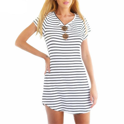 Women Crew Neck Short Sleeve Striped Loose T-Shirt Mini Dress Sundress Plus Size Women Beach Summer Dress - CelebritystyleFashion.com.au online clothing shop australia