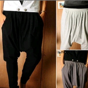 Fashion Harajuku Hip Hop Men Harem Casual Baggy Cargo Cotton Drop Crotch Mens Pants Black Khaki Joggers - CelebritystyleFashion.com.au online clothing shop australia