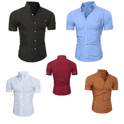 Men's Business Lapel Button Down Short Sleeve Top Blouse Casual Solid Shirt - CelebritystyleFashion.com.au online clothing shop australia
