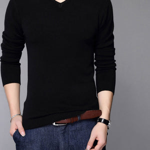 New Fashion Slim Fit Sweater Men Classic Pure Black Pullover Men Solid Color V-Neck Pull Homme Cashmere Wool Sweaters Shirt 6638 - CelebritystyleFashion.com.au online clothing shop australia