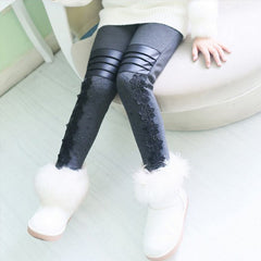 Girls Pants Winter Leggings Children Elastic Floral Lace Printed Flowers Warm Thick Cotton Gray Black Kids Trousers 6-11 - CelebritystyleFashion.com.au online clothing shop australia