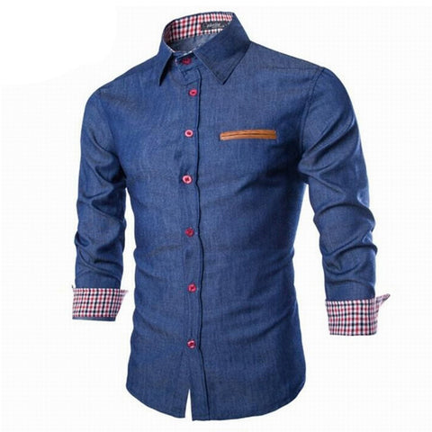 Men's Denim Shirts Long Sleeve Turn-down Collar Fashion Slim Fit Style Dark Jeans Men Shirt European Size DHY3151 - CelebritystyleFashion.com.au online clothing shop australia