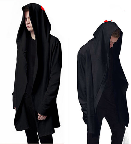 High Quality Casual unisex Men's Hooded With Black Gown Hip Hop Hoodies and Sweatshirts long Sleeves Jackets women cloak Coats - CelebritystyleFashion.com.au online clothing shop australia