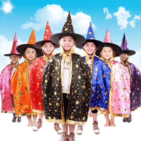 Boy Girl Kids Children Halloween Costumes Witch Wizard Cloak Gown Robe and Hat Cap Stars Fancy Cosplay for Children Boys Girls - CelebritystyleFashion.com.au online clothing shop australia