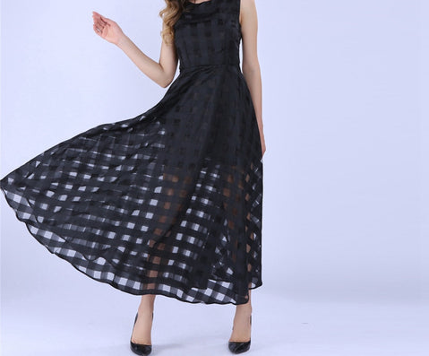 Maxi Summer Plaid Women Dress New Long Organza day Dress Satin Fashion style black women dresses - CelebritystyleFashion.com.au online clothing shop australia